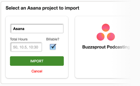 Importing Asana project into Tick