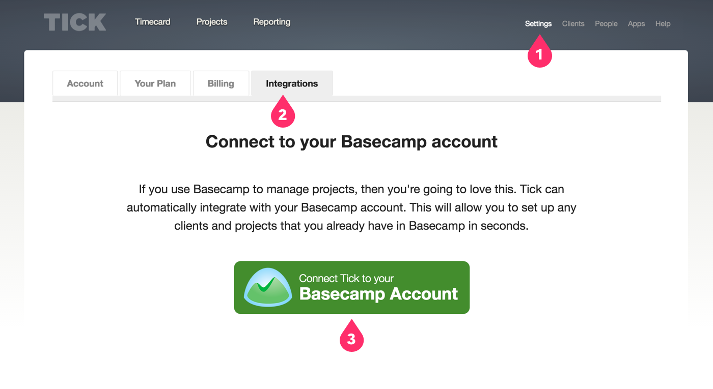 Connecting Tick and Basecamp