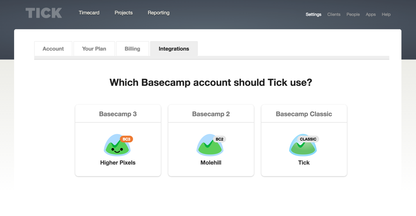 Selecting which Basecamp version to integrate with