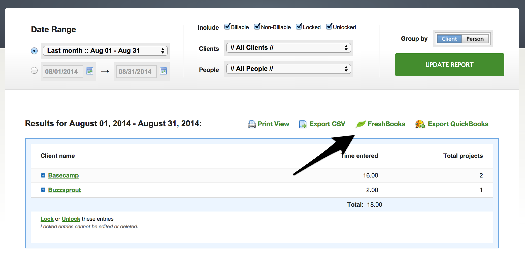 Enable Freshbooks view in reports