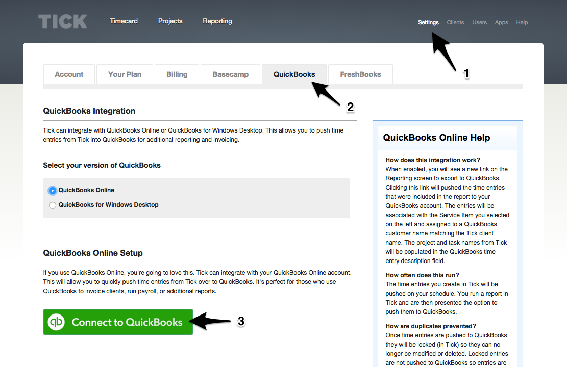 Connecting your Tick and QuickBooks Online accounts