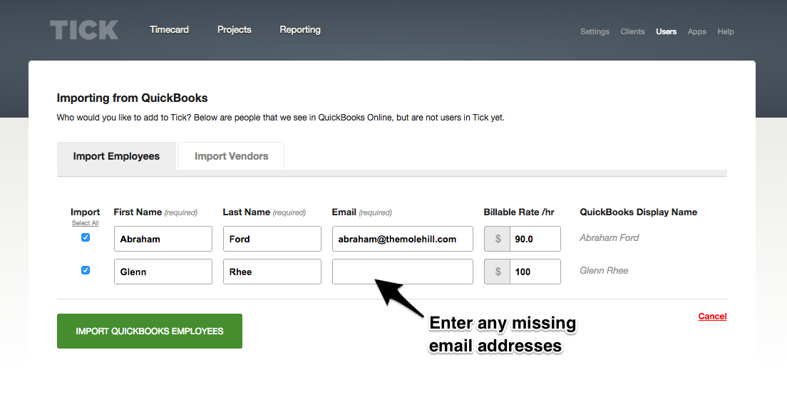 QuickBooks Importing Users