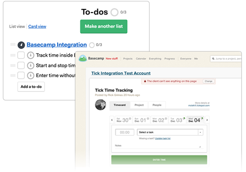 Tick integrates seamlessly with basecamp.