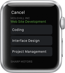 Selecting a task on the Apple Watch