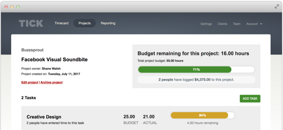Track your project budgets with Tick