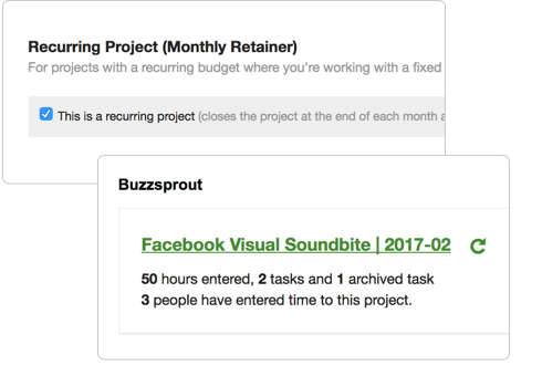 Setting up projects with recurring budget data