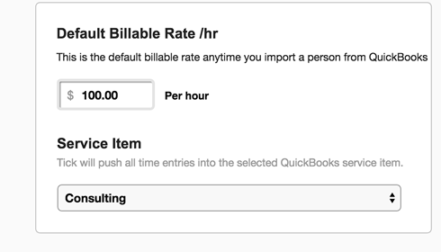 Set billable rate in Tick